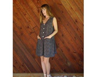 Sleeveless Dot Print Mini Summer Dress - Vintage 90s - S/M