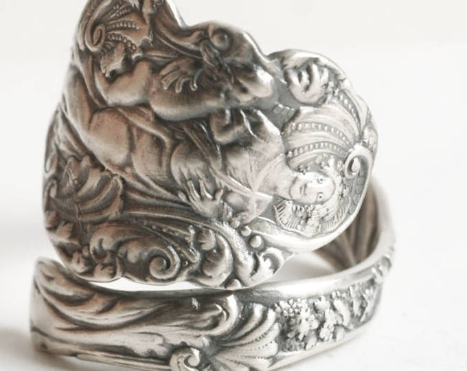 Gorham Versailles Madonna with Child Ring, Antique 1888 Sterling Silver Spoon Ring, Handmade Mother and Child, Adjustable Ring Size (6726)