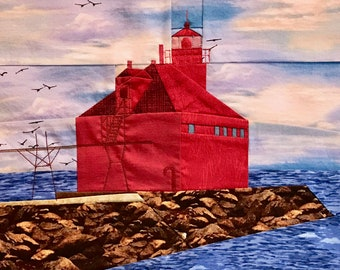 Sturgeon Bay Ship Canal Pierhead, WI Lighthouse quilt pattern