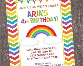 Chevron Rainbow Birthday Invitations - 1.00 each with envelope