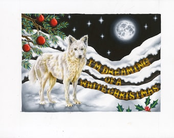 I'm Dreaming of a White Christmas- Wolf Illustration Print