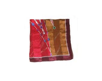 Red Scarf / Valentino Scarf / Designer Scarf /   Vintage 80s / Women Accessories Scarves / Vintage Accessories Scarves