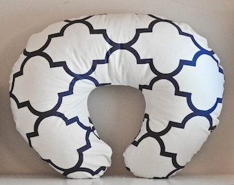 Nursing Pillow Cover Navy Quatrefoil. Nursing Pillow. Nursing Pillow Cover. Minky Nursing Pillow Cover. Navy Nursing Pillow Cover.