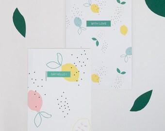 """2 Karten Postkarten Sweet Lemon - """"With Love"""" und """"Say Hello"""" - Briefpapier - Geschenk-Karten-Set"""