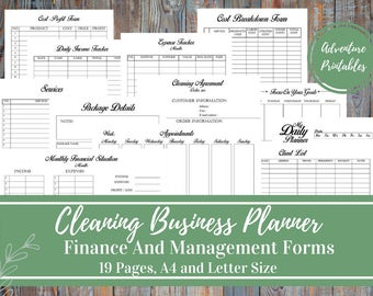 Cleaning Business Planner and Manager, Cleaning Services, Small Business Plan, Business Finance and Business Management Printable Forms,