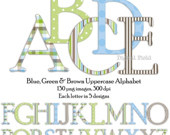 Blue, green and brown uppercase alphabet clip art set - printable digital letters - instant download