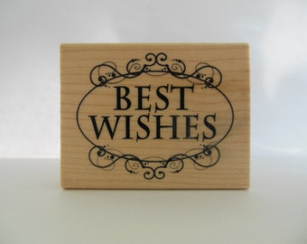 Best Wishes Stamp - Sentiment Stamp - Wood Mounted Rubber Stamp - Inkadinkado Collection