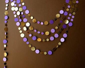Bridal shower decor, Gold and purple wedding, Gold purple garland, Paper garland, Gold orchid garland, Wedding decoration,  KMCG-8502