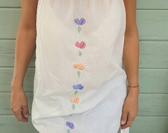 Mini tunic dress hand embroidered cotton ethnic dress Bohemian handmade flowers