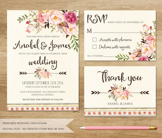 Floral wedding invitation printable wedding invitation junglespirit Gallery