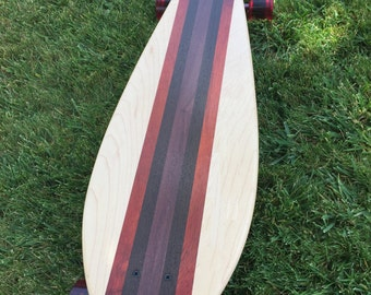 "LONGBOARD - SKATEBOARD - ""Laguna"" made with 4 Types of Woods"