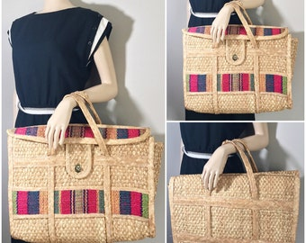 VINTAGE OVERSIZED WEEKENDER // Vintage Straw Beach Bag // Vintage Woven Mexican Straw Bag // Vintage Market Bag // Carry on Bag // Bohemian