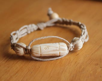 Hemp Bracelet with Tribal White Bone Beads - Gift for Him or Her - Comfortable Macrame Bracelet With Neutral Colors