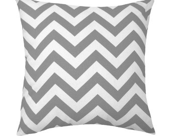 Grey Chevron Pillow Cover - Grey and White Pillow Cover - Gray Cushion Cover - Zig Zag Accent Pillow Cover - Grey Pillow Cover