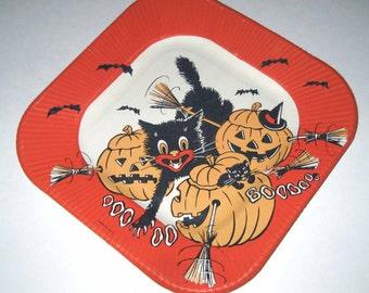 Vintage Halloween Paper Plate with Black Cat Jack O Lanterns and Bats & Let\u0027s Explore Paper Plates Meri Meri Camping Party Tribal Decor ...