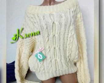 Chunky knit sweater Ruban sweater Women's Knitted Sweater Pullover Ruban Ultraviolet knitted sweater Knitting Oversized Cable knit sweater