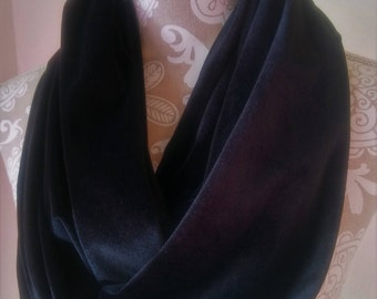 Black Velvet scarf, Infinity Scarf, winter scarf, Black cowl, warm scarf, velvet infinity scarf, neck warmer, accessories, gift for her
