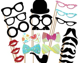 Photobooth Prop - 22 Piece On a Stick Set - Mustache Party Props - Wedding Photo Booth Props