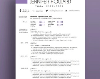"Creative Resume Template, CV Template + Cover Letter, Modern Resume Design, MS Word, Purple, Customizable (""Buena Vista"")"
