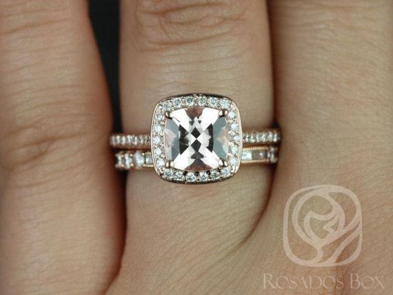 Rosados Box Hollie 8mm & Gabriella 14kt Rose Gold Cushion Morganite and Diamonds Pave Halo Wedding Set