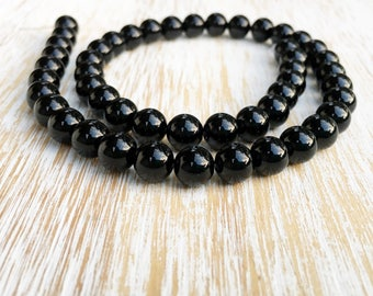 "Smooth Round 8mm Black Onyx Beads / 15.5"" Strand, Genuine Natural Gemstone Bead, Black Onyx Bead, 8mm Onyx Bead, Authentic Onyx Bead (G1010)"