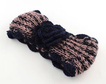 Navy Blue/Light Pink Knit Ear Warmer - READY TO SHIP