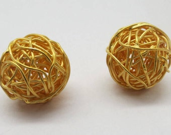 2 Pieces Gold Plated Beads 925 Sterling Silver Wire Wrapped  Nest Beads 15mm Round