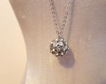 Rhinestone Ball Pendant Necklace Minimalist Dainty Jewelry Free US Shipping 013