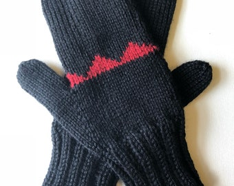 Black and Red Hand Knit Mittens