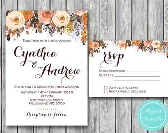 Fall Autumn Wedding Invitation Set, Wedding Invitation Printable, Bridal Shower, Baby Shower Invite, Wedding Invitation Suite wd82 TH40 WI19