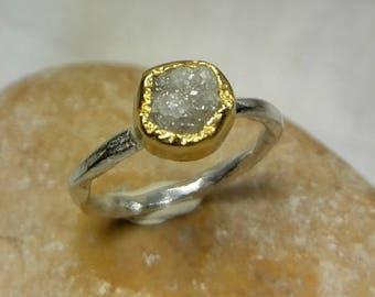Raw Diamond Ring, Rough diamond Engagement Ring  ,white Rough Diamond  ring,  Sterling Silver 22K Yellow Gold Ring