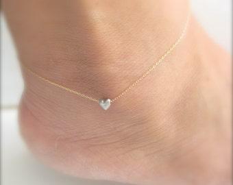 Tiny Heart Anklet - A Little Love - Ankle Bracelet version
