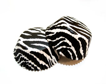 Mini Zebra Black and White Cupcake Liners (50)