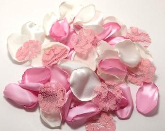 Satin Lace Mix Rose Petal, Wedding Rose Petals, Flower Girl Petal, Pink Petal, Bridal Petals, Satin Petal, Wedding Decoration L126