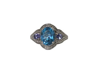 Aquamarine & Tanzanite Sterling Silver Ring Size 9