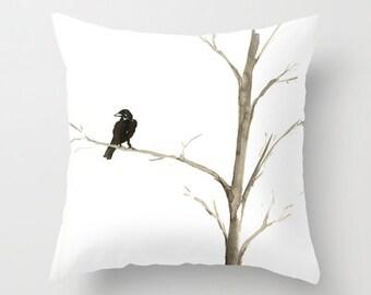 Decorative Pillow Cover - Raven Tree - Throw Pillow Cushion - Fine Art Home Decor