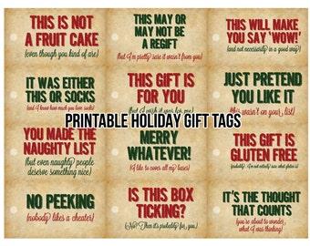 Sassy Holiday Gift Tags - Printable