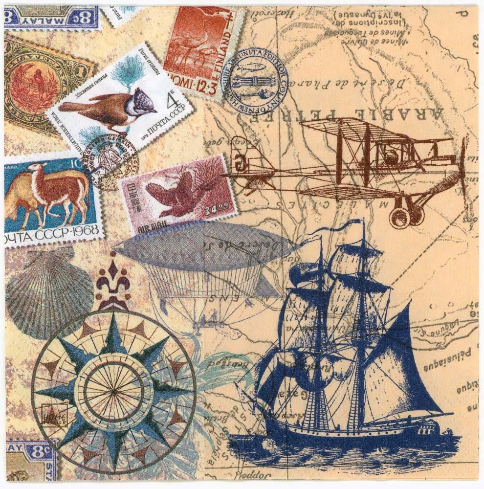 Decoupage Napkins Vintage Travel World Map Tall Sailing
