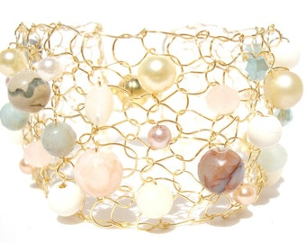 Amazonite bracelet Beaded bracelets Gemstone bracelet Pastel bracelet Arm Cuffs Gold cuff bracelet Handmade jewelry gift for women