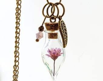 Terrarium necklace, bottle Pendant, reral flower necklace, botanical necklace, Dried Flowers, pink,  real flower, gift for woman, present,