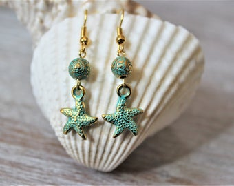 Starfish Verdigris Patina Earrings