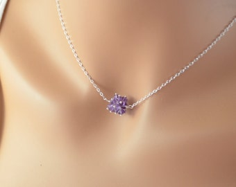 Real Amethyst Necklace, Cluster of Purple Gemstones, Semiprecious Choker, February Birthstone, Sterling Silver Jewelry, Free Shipping