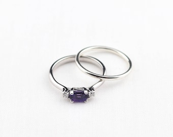 amethyst engagement ring wedding set, 14k amethyst and diamond ring, february birthstone, alternative engagement ring, jewelry