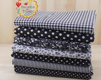 7 x fabric polka dot flower patchwork cotton 100% series 50x50cm black geometry coupons