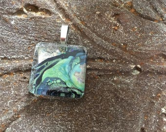 Small Square Hand Painted Pendant Necklace Galaxy Celestial Stars Space Mother Nature Earthy Artisan Jewelry Gift Her Him Mixed Media