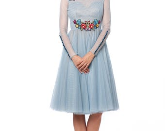 Delicate tulle midi dress with handmade embroidery