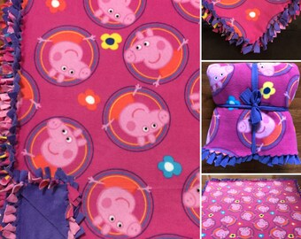 LARGE PEPPA PIG Handmade Fleece Tie Blanket   55x65   Peppa Pig Bedding   Peppa Pig Home Decor