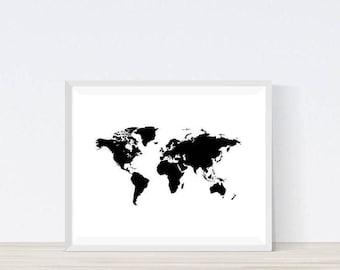 World Map, World Map Poster, Travel Map, World Map Print, World Map Art, Large World Map, World Map Wall Art, World Map Decal,
