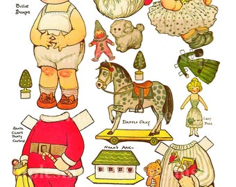 Dolly Dingle Vintage Paper Doll. Digital Dottie Darling Download vintage paper doll paper toy printable dolly digital download Christmas