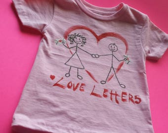 Love Letters - Hand Painted 18-24 Month Infant T-Shirt - Creations of Grace 100% Cotton Kids Tee - Child's Shirt - Small Beans Wear